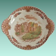 "Brown & Ritchie ""English Castles'  Brown Transferware Lugged Bowl"