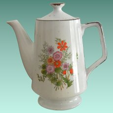 Tall Stoneware Tea Pot with Colorful Floral Design