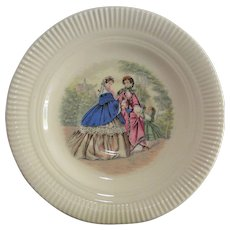 Two Cameo Saucers Victorian Scene