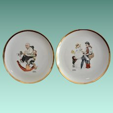 Two 8.0 Inch Norman Rockwell  Display Plates Grandpa and Boy