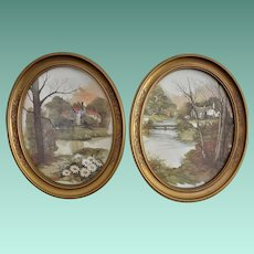 Pair of HOMCO 11 X 9 Framed Country Scene Wall Pictures