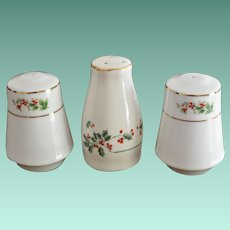 Set Of Holly Berry Porcelain Salt and Pepper Shakers