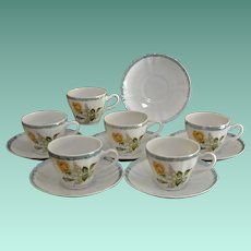 Set of Six Demi Tasse Cups and Saucers Japan - Floral Pattern