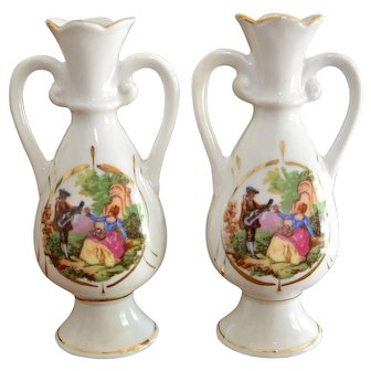 Pair of Mid Century Urn Style Cameo Picture Vases