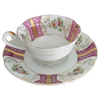 Plum Pink Demi Tasse Cup and Saucer Set
