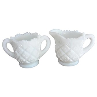 Milk Glass Saw Tooth Rim Quilt Pattern Creamer Sugar