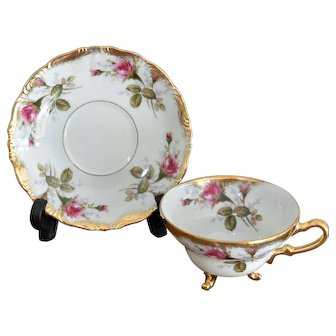 Royal Sealy Footed Cup and Saucer Set Rose Flowers Pattern