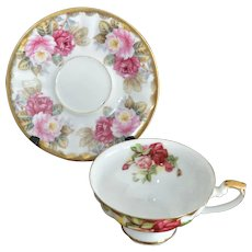 Shafford Japan Mismatched Quick Sale Roses Pattern Cup and Saucer Set