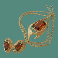 Sarah Coventry 1963 Molten Topaz Necklace and Clip Earrings