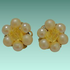 Japan Yellow Bead and Faux Pearl Cluster Clip Earrings