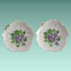 Two Nasco Porcelain Leaf Shape Dishes with Violets