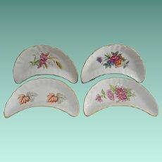 Set of Four Porcelain Crescent Bone Dishes Floral Transferware