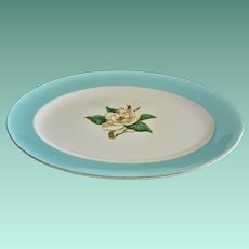 """""""Turquoise"""" with Gardenia 12.0 Inch Serving Platter"""