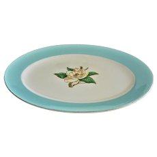 "Lifetime China Co Mid Century Serving Platter ""Turquoise"" Gardenia Flower Pattern"