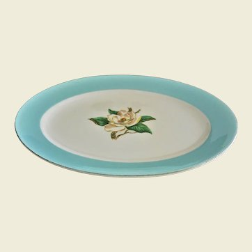 "Lifetime China Co Mid Century Serving Platter ""Turquoise"" Gardenia Flower Pattern"