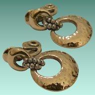 Signed Early Monet Doorknocker Hammered Look Clip Earrings