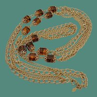 """Golden Lanterns"" 1972 Signed Sarah Coventry Necklace"