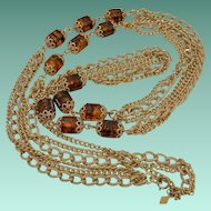 """""""Golden Lanterns"""" 1972 Signed Sarah Coventry Necklace"""