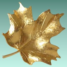 Maple Leaf Gold Tone Brooch Pin