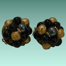 Signed Japan Beaded Cluster Clip Earrings Faux Tahitian Pearl