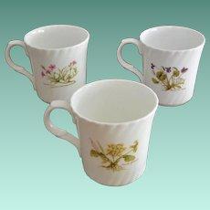 Set of Three Botanical Theme Mugs Crown Trent England Bone China