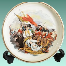 """American Pottery Tray Image of  John Trumbull's """"""""Battle of Bunker's Hill"""" Painting"""