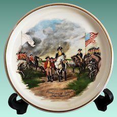 """.American Pottery Tray Image of  John Trumbull's  """"Surrender of Cornwallis"""" Painting"""