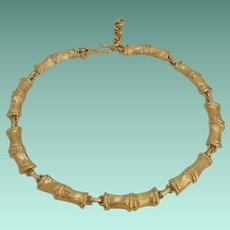 Signed Monet Bamboo  Segments Motif Necklace in Gold Tone