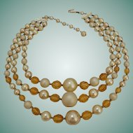 Japan Three Strand Necklace  Amber and Pearl Color Beads
