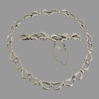 Signed Monet 1970's Silver Tone Necklace with Matching Bracelet