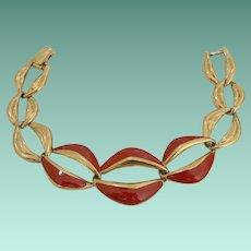 Signed Trifari TM Red Enameled Link Bracelet