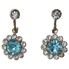 1960's Aqua Chatons Screw Back Dangle Earrings
