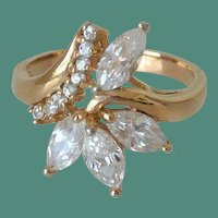 Stunning Marquis Faux Diamonds Cocktail Ring Size 9.0