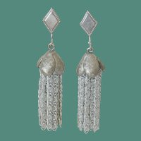 "Sarah Coventry 1975 ""Silvery Cascade"" Clip Earrings"