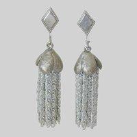 "Sarah Coventry 1975 ""Silvery Cascade"" Clip Earrings"