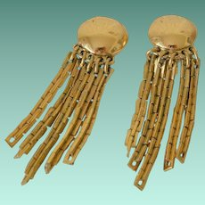 Monet Tassel Chain Clip Earrings
