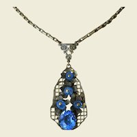 Art Deco Period Bohemian Czech Blue Glass Lavaliere Necklace