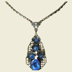 Art Deco Period Bohemian Czech Blue Glass Lavaliere Necklace