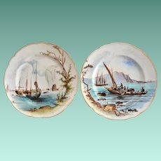 Two Antique Fischer & Mieg Hand Painted Harbor Scene Display Plates