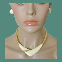 MONET Cream Enamel  Collar Necklace Earrings Set with Chevron Motif