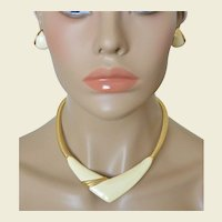 MONET Cream White Enamel Omega Chain Collar Necklace Earrings Set