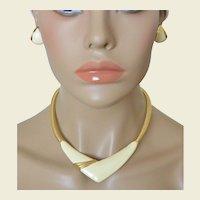 MONET Cream White Enamel Omega Chain Collar Necklace Earrings Set