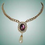 Purple Glass Moonstone Cabochon Lavaliere Necklace 1928 Company