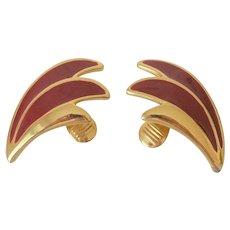 Red Enameled Wings Motif Monet Clip Earrings