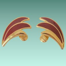 Red Enameled Wings Motif Monet Clip Earrings