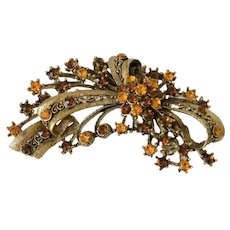 Filigree Pendant Brooch Pin Amber and Citrine Color Rhinestones
