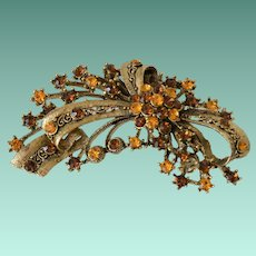 Filigree Pendant Brooch Pin Amber and Citrine Color Rhinestones