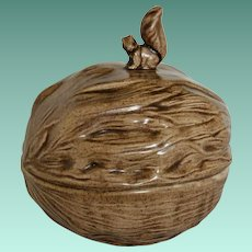 Arnel's Ceramics 1981 Squirrel Top Walnut Serving Bowl Artist Signed