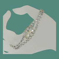 Vintage Clear Rhinestones Double Stranded Bracelet