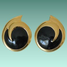 Bold Black Enamel Comet Swirl Earrings Signed Monet